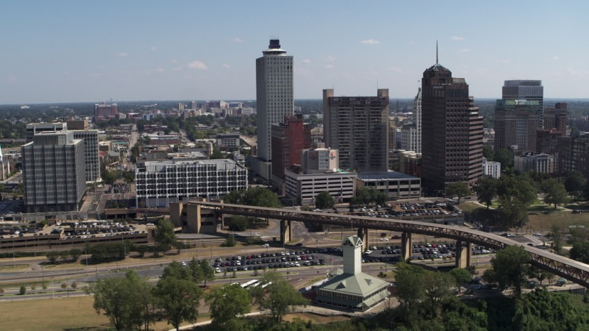 5.7K stock footage aerial video flyby city hall and office towers in Downtown Memphis, Tennessee Aerial Stock Footage | DX0002_178_005