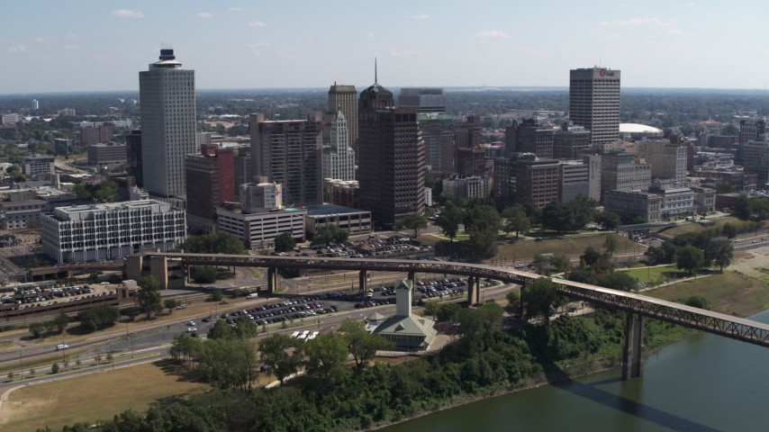5.7K stock footage aerial video a stationary view of office towers in the Downtown Memphis, Tennessee skyline Aerial Stock Footage | DX0002_178_008