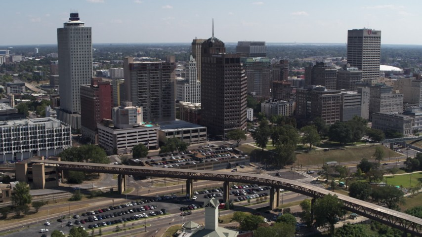 5.7K stock footage aerial video of flying toward office towers in the Downtown Memphis, Tennessee skyline Aerial Stock Footage | DX0002_178_009