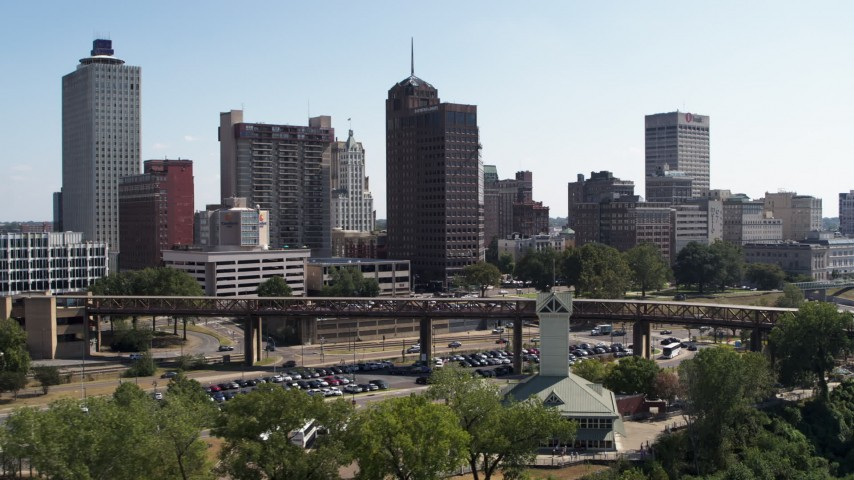 5.7K stock footage aerial video reverse view of office towers in the Downtown Memphis, Tennessee skyline Aerial Stock Footage | DX0002_178_013