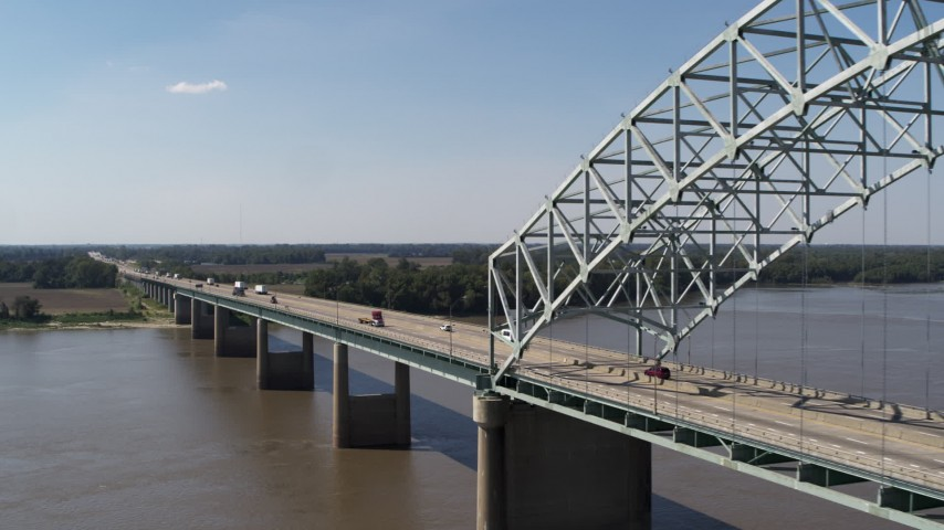 5.7K stock footage aerial video flyby light traffic on the bridge, Memphis, Tennessee Aerial Stock Footage | DX0002_178_020