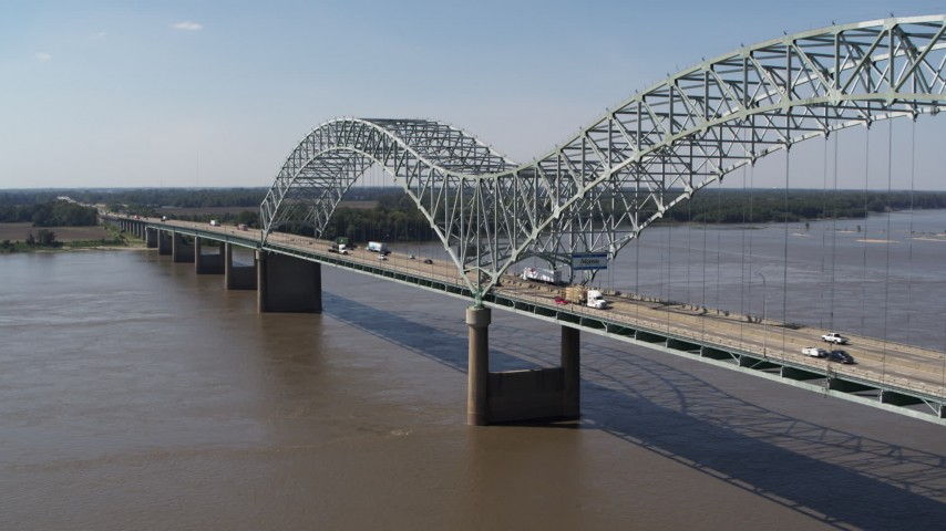 5.7K stock footage aerial video orbit light traffic and a sign on the bridge, Memphis, Tennessee Aerial Stock Footage | DX0002_178_023