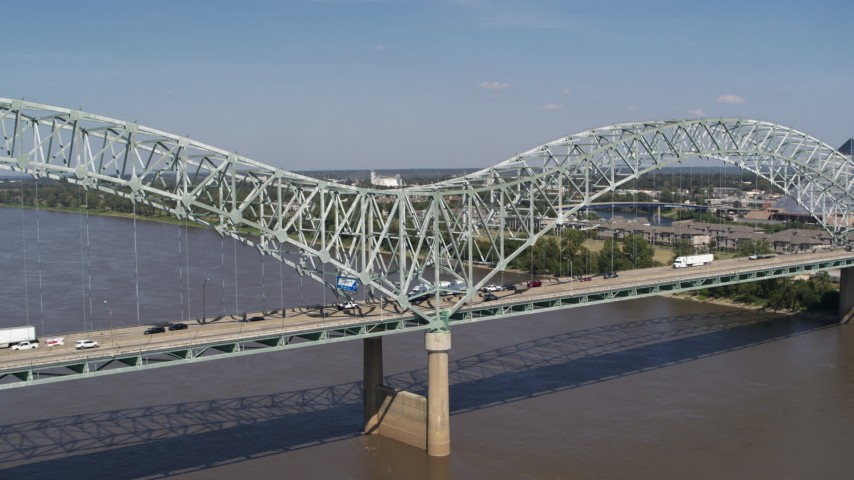 5.7K stock footage aerial video orbit light traffic on the middle of the bridge, Memphis, Tennessee Aerial Stock Footage | DX0002_178_024