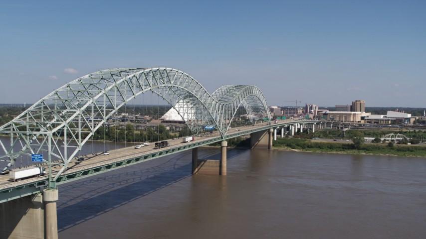 5.7K stock footage aerial video orbit light traffic traveling on the bridge, Memphis, Tennessee Aerial Stock Footage | DX0002_178_025