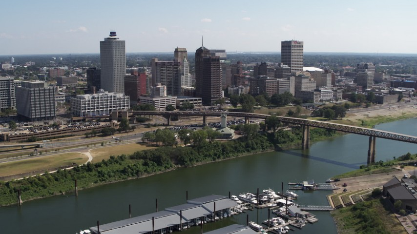 5.7K stock footage aerial video stationary view of the city's skyline and Wolf River Harbor, Downtown Memphis, Tennessee Aerial Stock Footage | DX0002_178_030
