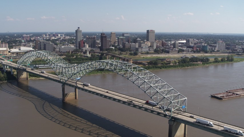 5.7K stock footage aerial video a stationary view of the bridge and skyline of Downtown Memphis, Tennessee Aerial Stock Footage | DX0002_178_038