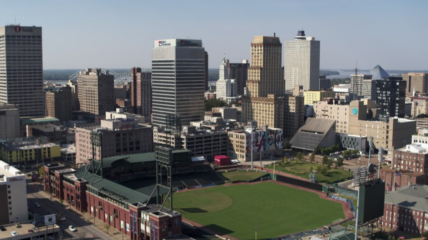 5.7K stock footage aerial video of ascending toward tall office towers and baseball stadium in Downtown Memphis, Tennessee Aerial Stock Footage | DX0002_179_001