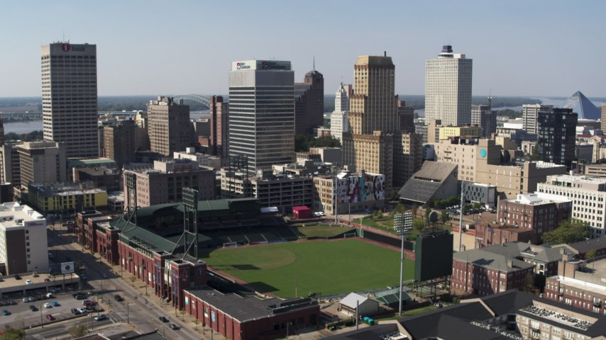 5.7K stock footage aerial video of orbit tall office towers and baseball stadium in Downtown Memphis, Tennessee Aerial Stock Footage | DX0002_179_002