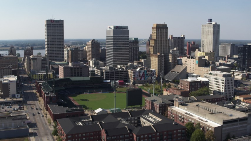 5.7K stock footage aerial video of a wide orbit tall office towers and a baseball stadium in Downtown Memphis, Tennessee Aerial Stock Footage | DX0002_179_003