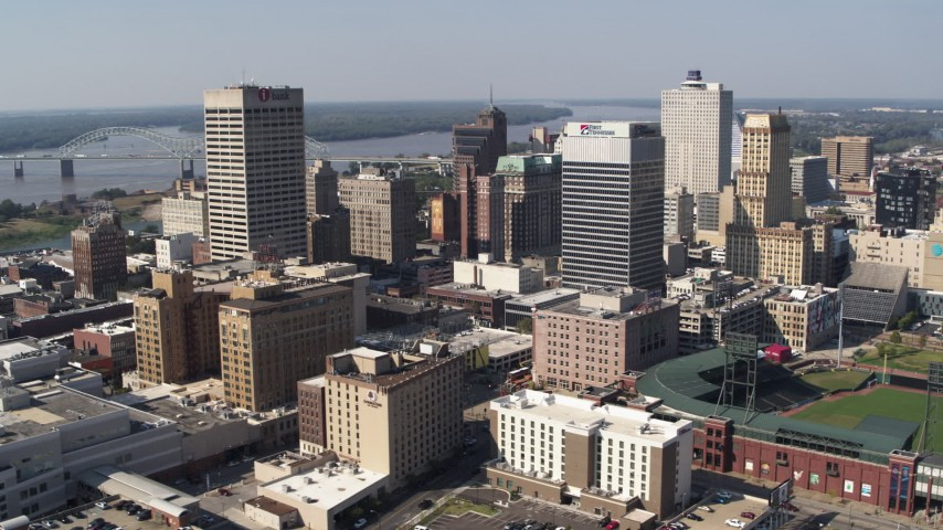 5.7K stock footage aerial video of an orbit of high-rise office towers in Downtown Memphis, Tennessee Aerial Stock Footage | DX0002_179_012