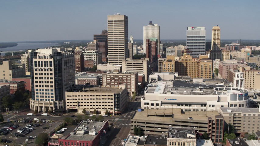 5.7K stock footage aerial video approaching high-rise office towers in Downtown Memphis, Tennessee Aerial Stock Footage | DX0002_179_014