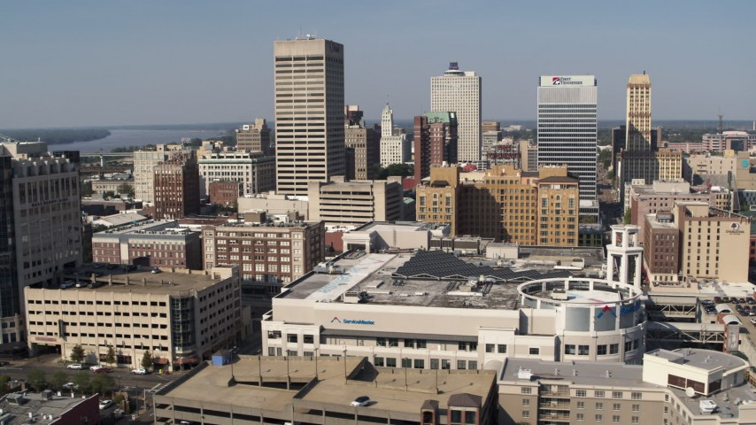 5.7K stock footage aerial video flyby and away from high-rise office towers in Downtown Memphis, Tennessee Aerial Stock Footage | DX0002_179_018