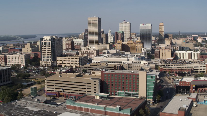 5.7K stock footage aerial video of flying past high-rise office towers in Downtown Memphis, Tennessee Aerial Stock Footage | DX0002_179_019