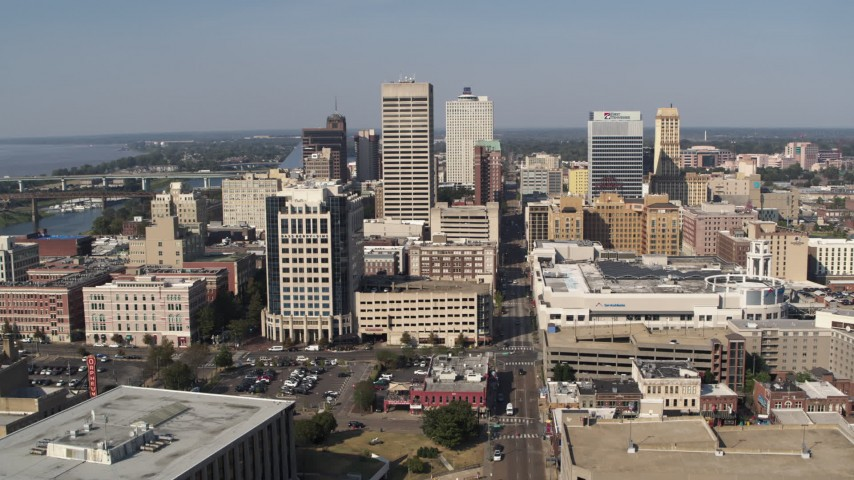 5.7K stock footage aerial video ascend over 2nd Street and flyby high-rise office towers in Downtown Memphis, Tennessee Aerial Stock Footage | DX0002_179_021