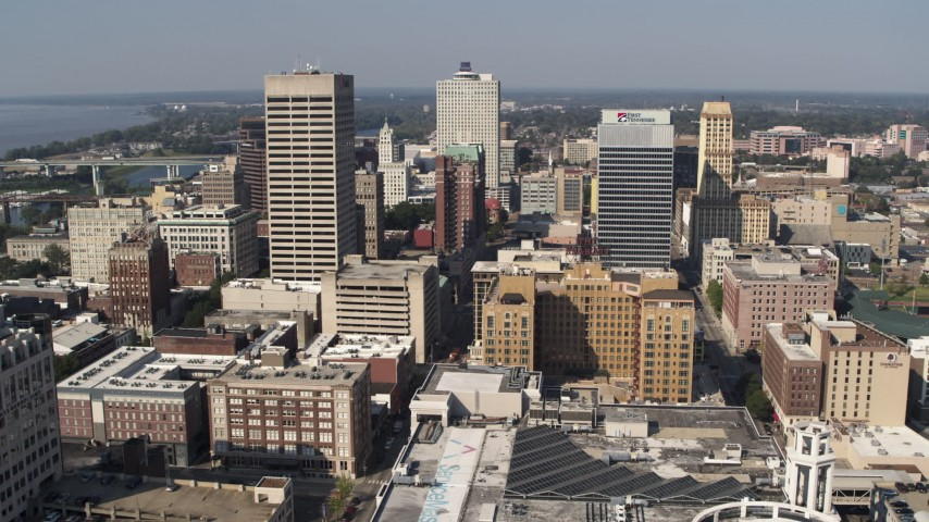 5.7K stock footage aerial video approach and pass high-rise office towers in Downtown Memphis, Tennessee Aerial Stock Footage | DX0002_179_022