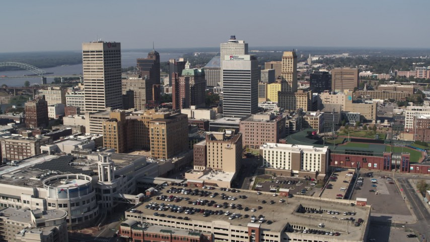 5.7K stock footage aerial video of a reverse view of high-rise office buildings in Downtown Memphis, Tennessee Aerial Stock Footage | DX0002_179_024