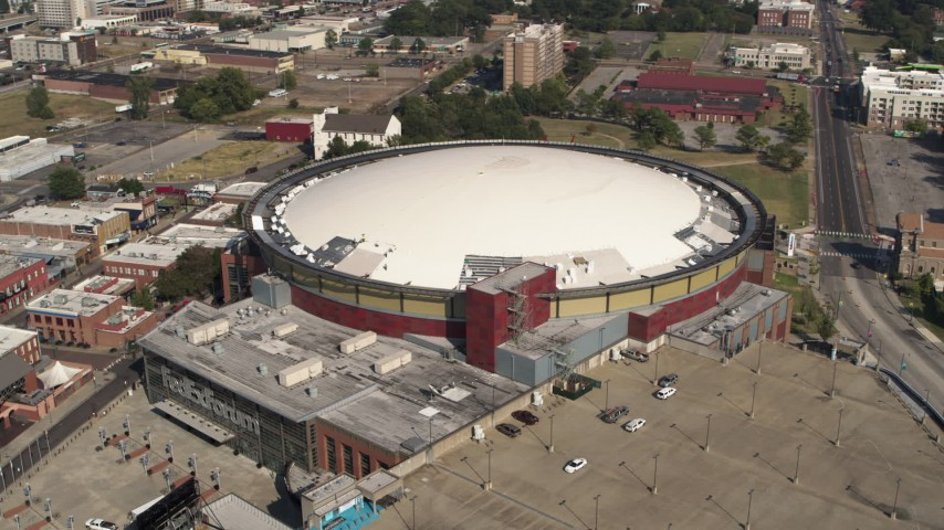 5.7K stock footage aerial video of orbiting FedEx Forum arena in Downtown Memphis, Tennessee Aerial Stock Footage | DX0002_179_025