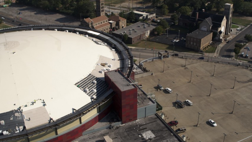 5.7K stock footage aerial video of tilting to a bird's eye view of FedEx Forum arena and parking lot in Downtown Memphis, Tennessee Aerial Stock Footage | DX0002_179_026