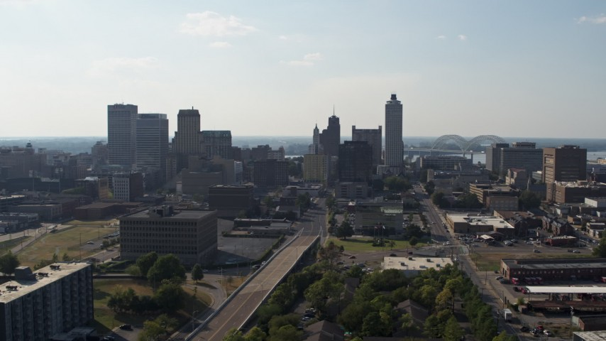 5.7K stock footage aerial video ascend for a view of high-rise office buildings in Downtown Memphis, Tennessee skyline Aerial Stock Footage | DX0002_179_029