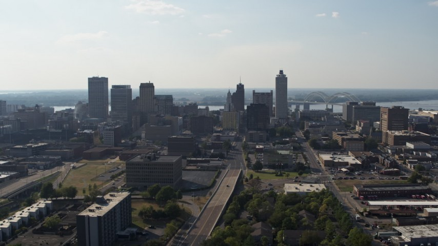 5.7K stock footage aerial video a reverse view of high-rise office buildings in Downtown Memphis, Tennessee skyline Aerial Stock Footage | DX0002_179_030