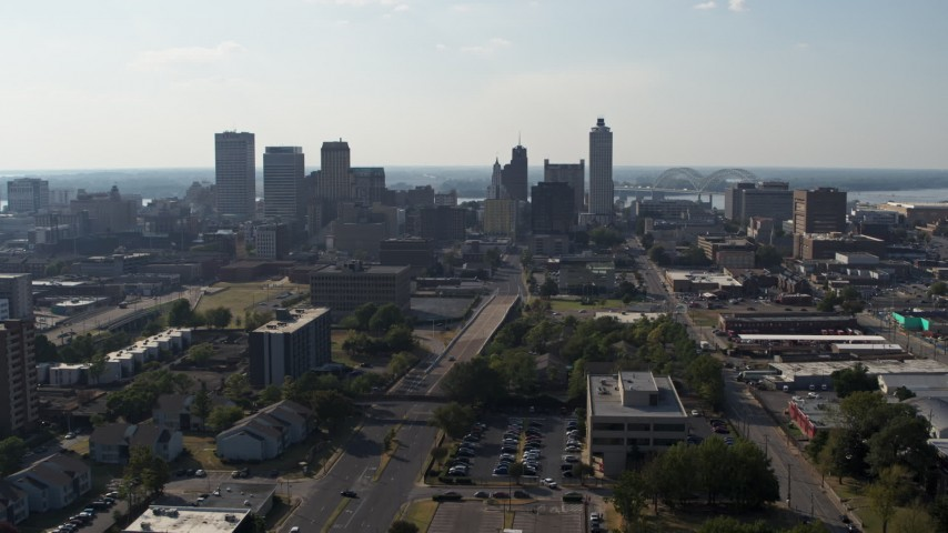 5.7K stock footage aerial video a view of high-rise office buildings in Downtown Memphis, Tennessee skyline during descent Aerial Stock Footage | DX0002_179_031