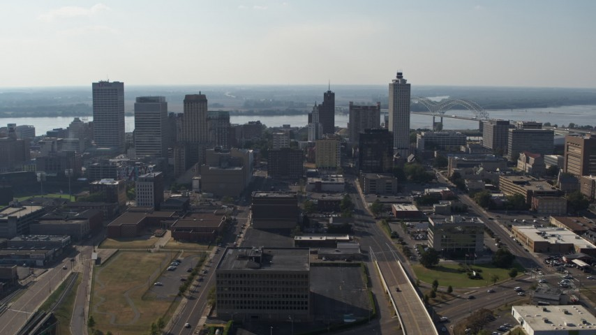 5.7K stock footage aerial video fly by tall high-rise office buildings in Downtown Memphis, Tennessee skyline Aerial Stock Footage | DX0002_179_034