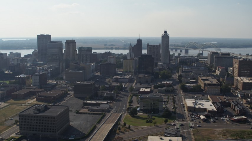 5.7K stock footage aerial video of tall high-rise office buildings in the Downtown Memphis, Tennessee skyline Aerial Stock Footage | DX0002_179_036