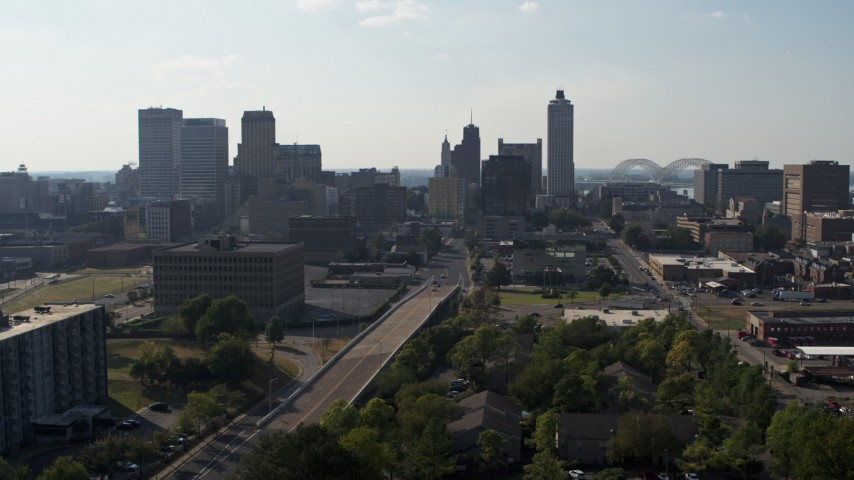 5.7K stock footage aerial video of high-rise office buildings in the Downtown Memphis, Tennessee skyline Aerial Stock Footage | DX0002_179_038