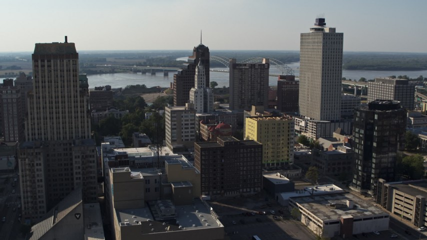 5.7K stock footage aerial video passing high-rise office buildings in Downtown Memphis, Tennessee Aerial Stock Footage | DX0002_180_002