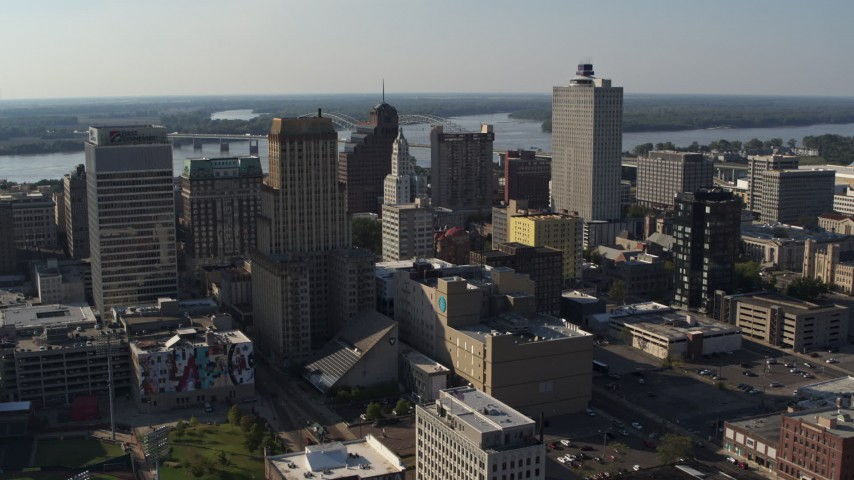 5.7K stock footage aerial video flyby Sterick Building, focus on Lincoln American Tower, Downtown Memphis, Tennessee Aerial Stock Footage | DX0002_180_007