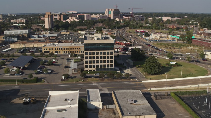 5.7K stock footage aerial video of orbiting an office building, Downtown Memphis, Tennessee Aerial Stock Footage | DX0002_180_008