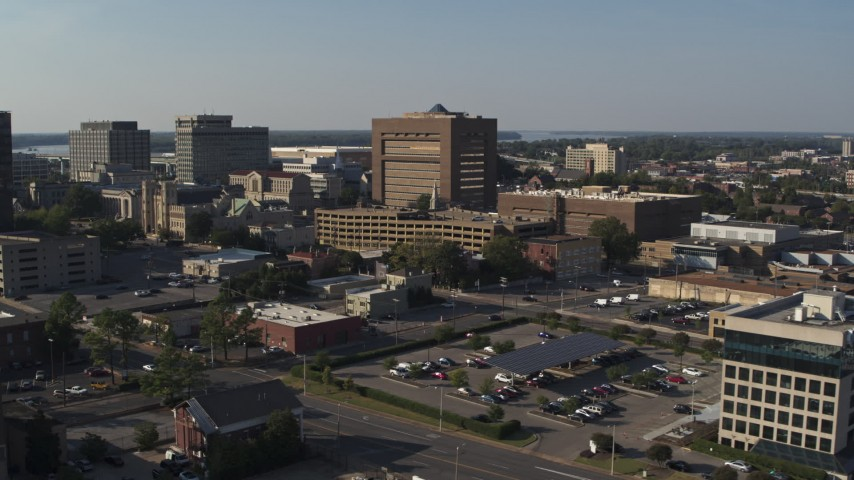 5.7K stock footage aerial video ascend and focus on the Shelby County Criminal Justice Center, Downtown Memphis, Tennessee Aerial Stock Footage | DX0002_180_011
