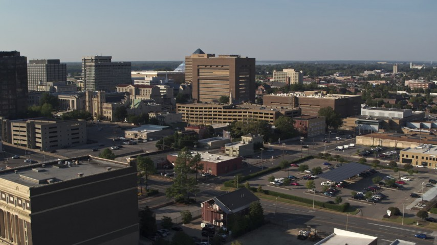 5.7K stock footage aerial video a view of the Shelby County Criminal Justice Center, Downtown Memphis, Tennessee Aerial Stock Footage | DX0002_180_012