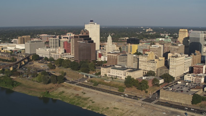 5.7K stock footage aerial video of passing by office buildings near Wolf River Harbor in Downtown Memphis, Tennessee Aerial Stock Footage | DX0002_180_015