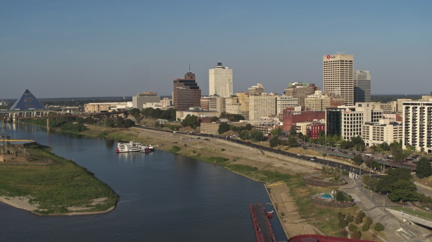 5.7K stock footage aerial video of office buildings by Wolf River Harbor, Downtown Memphis, Tennessee Aerial Stock Footage   DX0002_180_020
