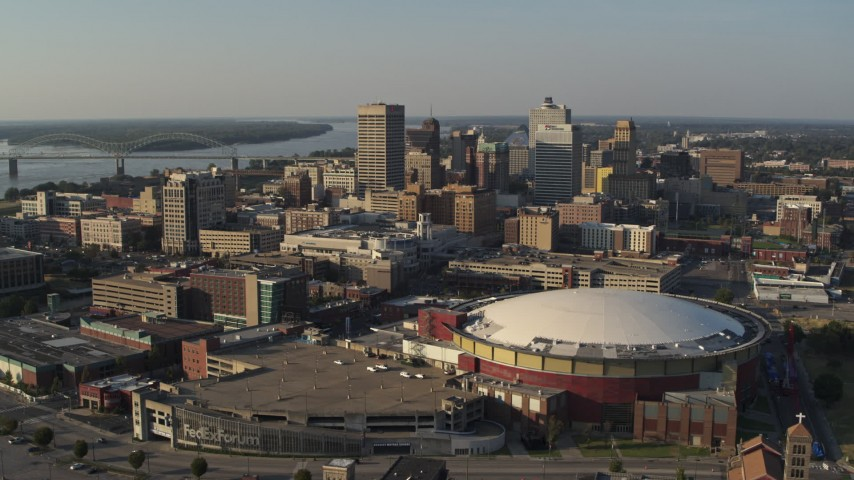 5.7K stock footage aerial video view of the city skyline from FedEx Forum arena at sunset, Downtown Memphis, Tennessee Aerial Stock Footage | DX0002_180_030