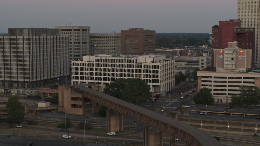 5.7K stock footage aerial video of orbit Memphis City Hall at sunset in Downtown Memphis, Tennessee Aerial Stock Footage | DX0002_181_036