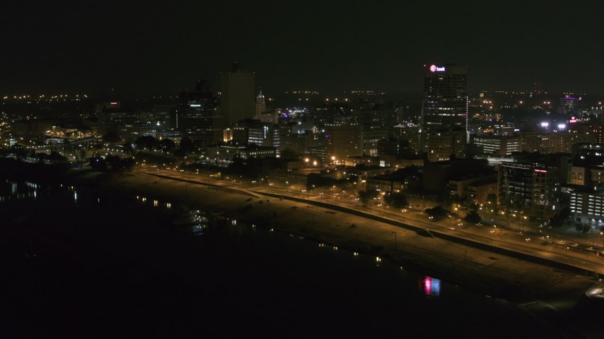 5.7K stock footage aerial video of approaching downtown office buildings at night, Downtown Memphis, Tennessee Aerial Stock Footage | DX0002_182_018