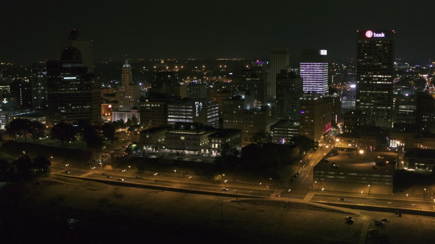5.7K stock footage aerial video of flying by office buildings at night in Downtown Memphis, Tennessee Aerial Stock Footage | DX0002_182_019