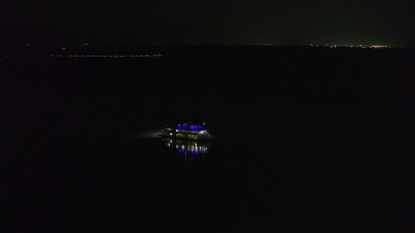 5.7K stock footage aerial video of tracking a steamboat sailing on the Mississippi River, Memphis, Tennessee Aerial Stock Footage | DX0002_182_023