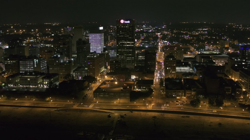 5.7K stock footage aerial video wide orbit of the One Commerce Square office tower at night in Downtown Memphis, Tennessee Aerial Stock Footage | DX0002_182_028
