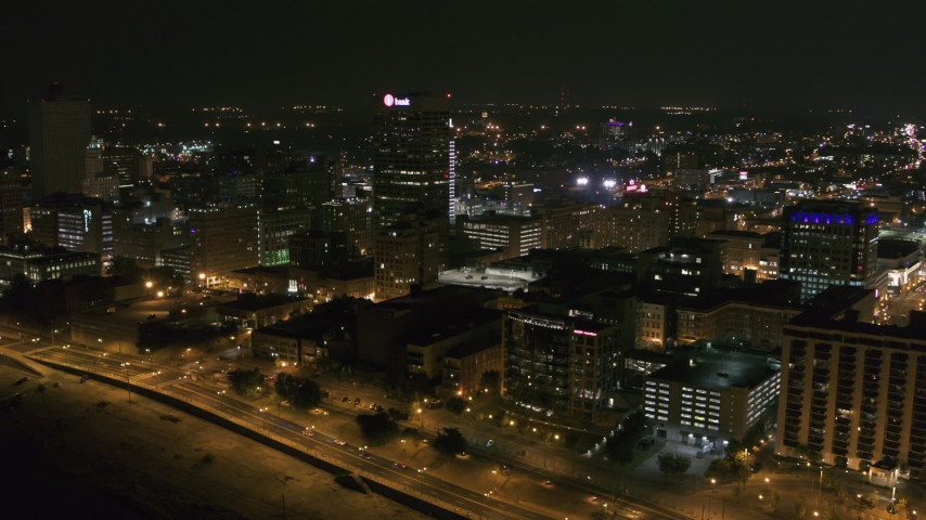 5.7K stock footage aerial video of the One Commerce Square office tower at night in Downtown Memphis, Tennessee Aerial Stock Footage | DX0002_182_029