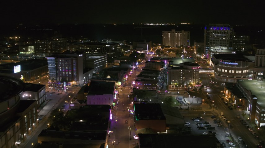 5.7K stock footage aerial video orbit restaurants and clubs on Beale Street at night in Downtown Memphis, Tennessee Aerial Stock Footage | DX0002_182_041