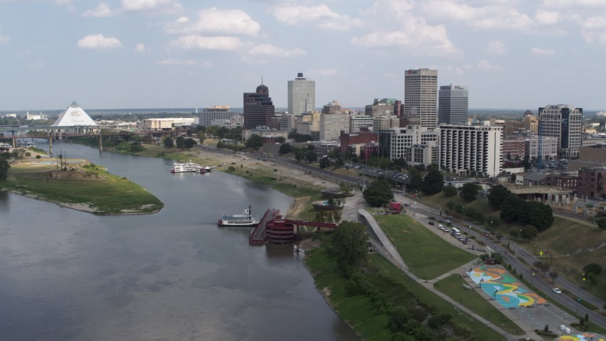 5.7K stock footage aerial video of approaching the city skyline from the Mississippi River, Downtown Memphis, Tennessee Aerial Stock Footage | DX0002_183_001
