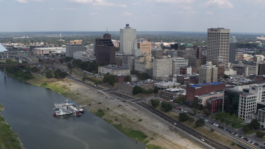 5.7K stock footage aerial video fly past and away from the city's skyline in Downtown Memphis, Tennessee Aerial Stock Footage | DX0002_183_007