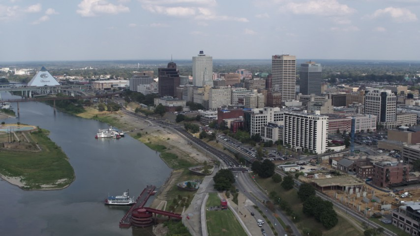 5.7K stock footage aerial video a stationary view of the city's skyline in Downtown Memphis, Tennessee Aerial Stock Footage | DX0002_183_008