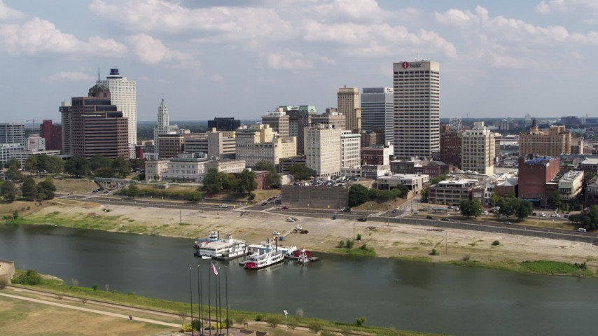 5.7K stock footage aerial video approach city's skyline across the Wolf River Harbor, Downtown Memphis, Tennessee Aerial Stock Footage | DX0002_183_016