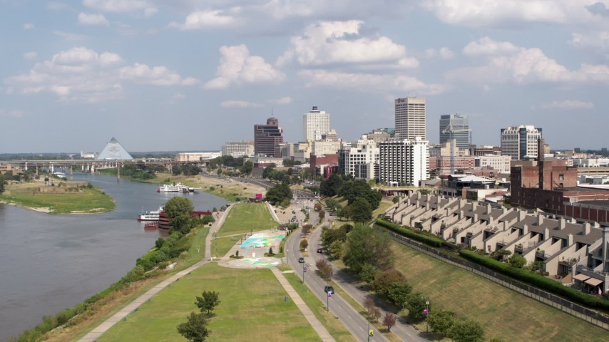 5.7K stock footage aerial video the city's skyline and Wolf River Harbor during descent, Downtown Memphis, Tennessee Aerial Stock Footage | DX0002_183_018
