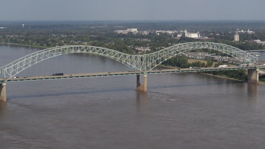 5.7K stock footage aerial video of traffic crossing the Hernando de Soto Bridge, Memphis, Tennessee Aerial Stock Footage | DX0002_183_027
