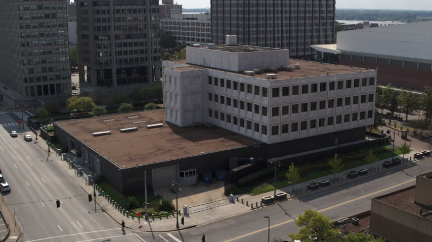 5.7K stock footage aerial video of a reverse view of the Federal Reserve Bank in Downtown Memphis, Tennessee Aerial Stock Footage | DX0002_183_031